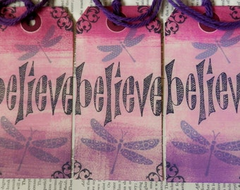 LARGE TAGS 3 - BELIEVE Dragonflies Pink Magenta Purple Black