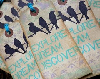 "LARGE TAGS 3 - ""Explore Dream Discover""  Aqua Blue Lavender Black Birds on a Branch"