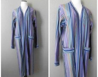 Striped Kimono Robe Jacket Vintage 70s Duster Lounge Wear Size M/L Medium Large Hippie Boho Long Wrap Coat 1970s Hipster Cardigan Dress Top