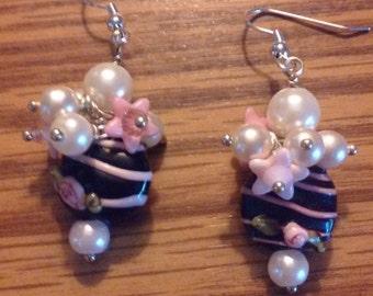 """pearls,flowers,in pink ,black,white. cute, earrings 2"""""""