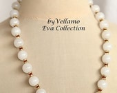 SALE Necklace with large round white jade beads and small red ruby and Swarovski spacers, fine summer fashion necklace