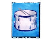 blue drum art print / music gift / rock n roll art / music room decor / guitar gift / boys room / kids room