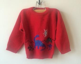 80s Dinosaur Red Vintage Sweater 3T Toddler Kids