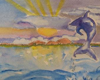 Original Dolphin Watercolor-Original Art-Ocean-Marine Life-Seascape-Sealife-Beach Decor-Inspirational-Joyful
