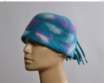ON SALE Nuno Felted Hat - Felted Hats - Merino Wool Felted Hat - Winter Hats - Rainbow hat - Gift for her