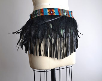 Burning Man Clothing - Festival Clothing - Native American Inspired - Feather Top - Feather Pixie Skirt