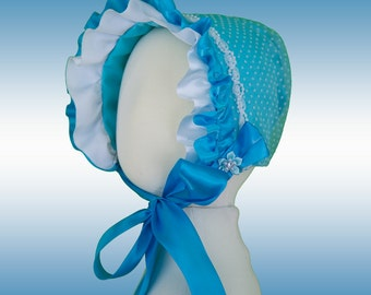 The Crista Teal Baby Girl Spring Bonnet