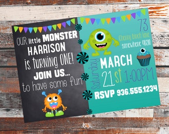 Monster Mash Birthday Invitation. Monster Birthday. Little Monster Birthday Party. Birthday Party invitation. Rustic Birthday invite.