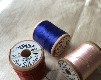 Talon Silk Thread / Lot 3 Spools Vintage Silk Thread / Vintage Sewing Supplies /