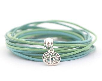 Tree of life Charm Yoga Bracelet, Bohemian Bracelet, Peridot Mint Blue Wrap Bracelet, Green Blue Bracelet, Minimalist Jewelry, boho chic,