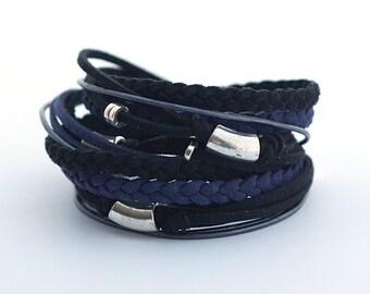 Black Navy Blue Men's Bohemian Bracelet, Black Navy Wrap Boho Bracelet, Men's Leather Bracelet, Bohemian Jewelry, gift for him, boho