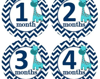 Baby Monthly Milestone Growth Stickers Turquoise with Navy Chevrons Giraffes Nursery Theme MS898 Baby Boy Shower Gift Baby Photo Prop