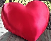 Red Heart Shaped Pillow, Red Satin Heart, Smooth Satin Heart Cushion, Decorative Heart Shaped Pillow