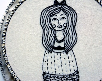 LITTLE DOLL, Embroidery Hoop Art,  Black Thread Line Drawing, Textile Illustration Wall Decor