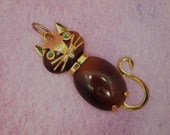 "Custom Order for JANA - Vintage HOBCO Cat Pendant - Gold Plated Metal Frame - Rhinestone Eyes - Rootbeer Glass Cabochons - 1.5"" x 3/4"""
