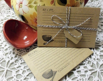 Recipe Cards, Kraft Recipe Cards, 25 Kraft PERSONALIZED Recipe Cards, Vintage Inspired, 3 x 5, Hostess, Teacher Gift, Stocking Stuffer,
