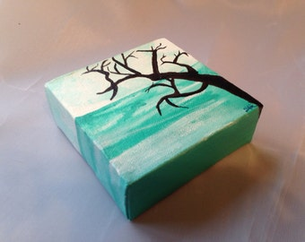 """Seascape or Ocean with Tree- Original Art, Acrylic Painting on 4""""x4"""" Thick Mini Canvas in Pastel Blue, Teal, and Black"""