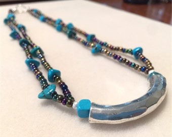 Turquoise and Blue Iris Glass Beaded Double Strand Necklace