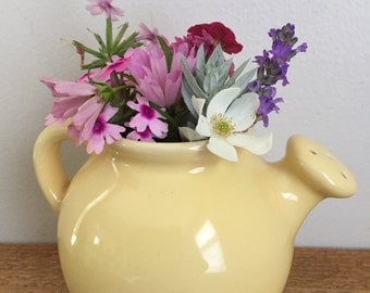 Vintage Yellow Pottery Watering Can Vase