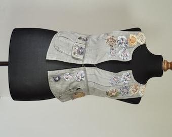 Unique Vest, Cotton,Boho,Flowers, Recykled, Aplique, Beads,Grey