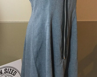 Grey and Black Zipper Front Dress
