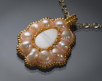 Peach Freshwater Pearl and Shell Bead Embroidered Pendant