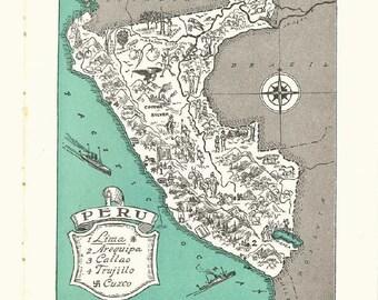 Map of Peru Print / Travel Map Wall Art / Retro Wall Decor / Original Vintage Map of South America / Callao and Cuzco / Lima Peru Map Decor