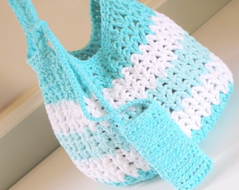Large Beach Bag, Reusable Market Tote with Cell Phone Carry Case, Crocheted Cotton Market Bag, Crochet Purse, in Aqua Blue n White