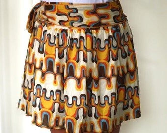 ON SALE 20% Spring retro Skirt in orange, mustard yellow, blue and brown abstract mini skirt.