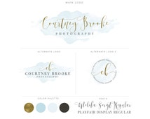 Mini Branding Package, Photography Logo and Watermark, Watercolor Floral Premade Marketing Kit bp31
