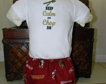 Amanda Nicole FSU themed onesie and diaper cover - Keep Calm Onesie - FSU Diaper Cover - FSU Outfit - Florida State Seminoles Outfit