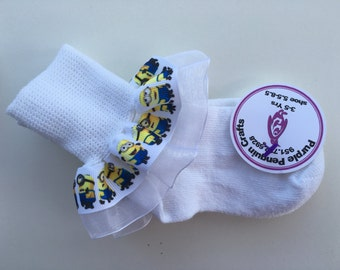 Super cute Minion Ruffle Socks Add bows