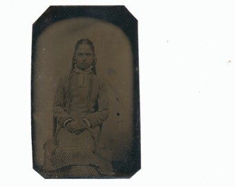 Fashion portrait 1/9 Plate Tintype Photograph 1800s 19th century antique Victorian French fashion