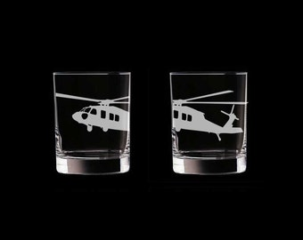 UH-60 Blackhawk Set of 2 Scotch Whiskey Glasses army helicopter helo black hawk Sikorsky