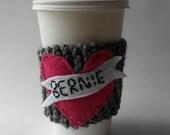 I heart Bernie knitted Coffee Cup Cozy/Bernie Sanders Coffee Cup Cozy/Koozy/Feel the Bern