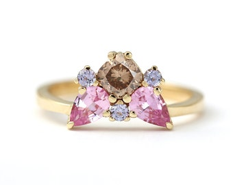 Cluster Engagement Ring, Brown Diamond Ring, Pink Sapphire Ring, Champagne Diamond Ring, Cushion Cut Diamond, Gold Tanzanite Ring, 18k Gold