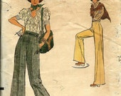 FALL SALE 1970's Vogue 9086 Misses Wide, Straight Legged Pants Pattern, Very Easy Vogue, Size 28 Waist