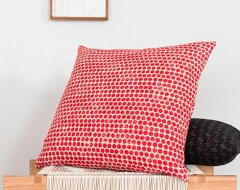 Sample Sale! Dot Block Print Pillow in Red