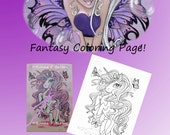 New IMG040 digital stamp digi stamp instant download coloring page big eye unicorn fantasy fairy art color page
