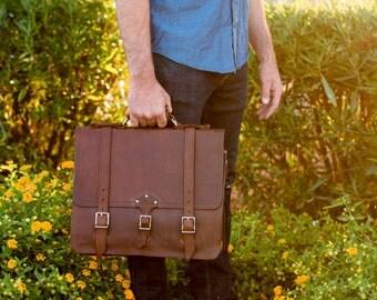 Men's Leather Messenger Bag Leather Briefcase Crossbody Bag Laptop Bag Shoulder Bag Leather Backpack Mens Christmas Gift Lifetime Leather Co
