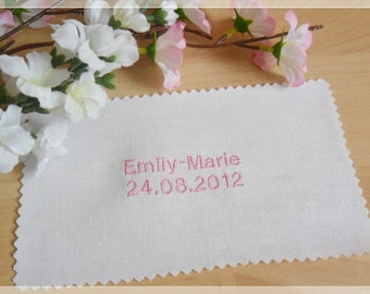 Embroidery name and date