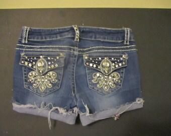 "Denim Jean cut off shorts festival shorts  size 28 lots of bling 28"" waist free shipping u s a"