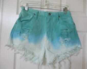 "Vtg Wrangler ombre dip dyed cut off denim shorts size 28 High Waist destroyed grunge wranglers 28"" waist FREE SHIPPING U S"