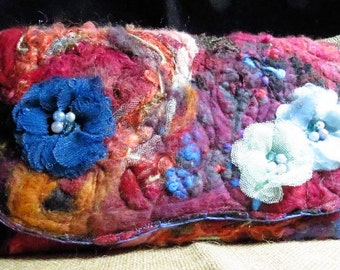 Floral Fire Fiber Art Clutch