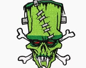 Frankenstein's Monster Skull & Crossbones Patch Kreepsville Art Iron-On Applique