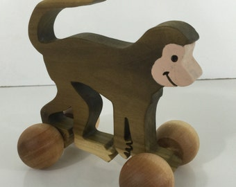 Waldorf Inspired Wooden Rolling Monkey