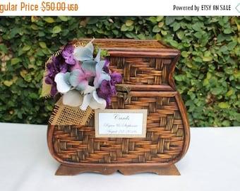 ON SALE Wedding Card Box / Rustic Wedding Trunk Cardholder / Rustic Trunk Chest