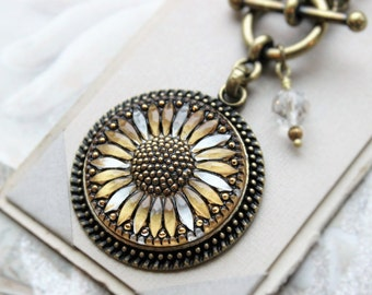 Sunfower Necklace Toggle, Czech Art Glass Pendant Silver and Gold, Intricately detailed Czech Glass Button Jewelry veryDonna