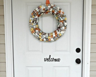 Welcome vinyl mailbox decal