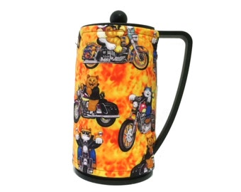 Motorcycle Cats Bodum French Press Coffee Pot Cozy / Fabric Coffee Cozy / RedLeafStitchCraft